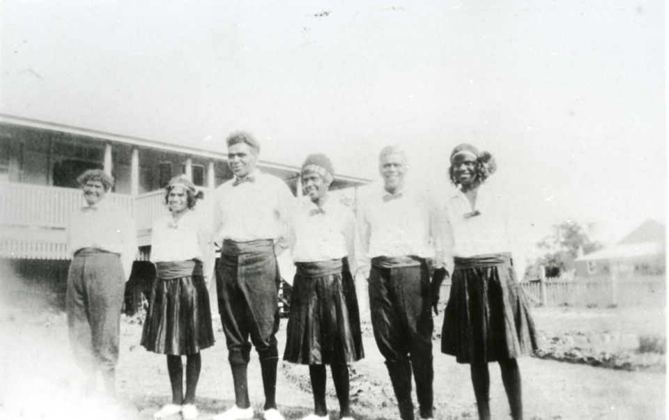 Group for concert party at Cherbourg Aboriginal Settlement c1930