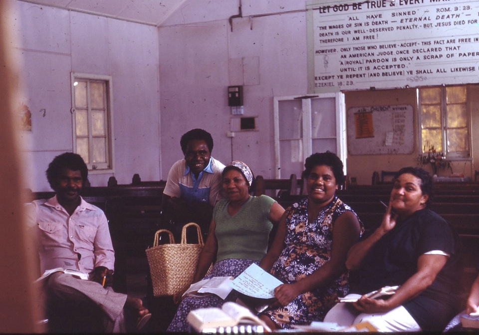 Group in AIM Church at Cherbourg c1970
