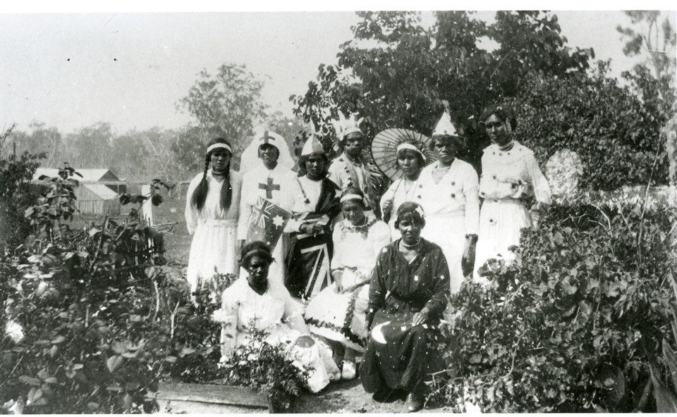 Group in costume for concert party at Cherbourg Aboriginal Settlement c1930