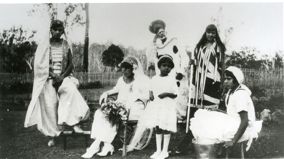 Group of actors for concert party at Cherbourg Aboriginal Settlement c1930