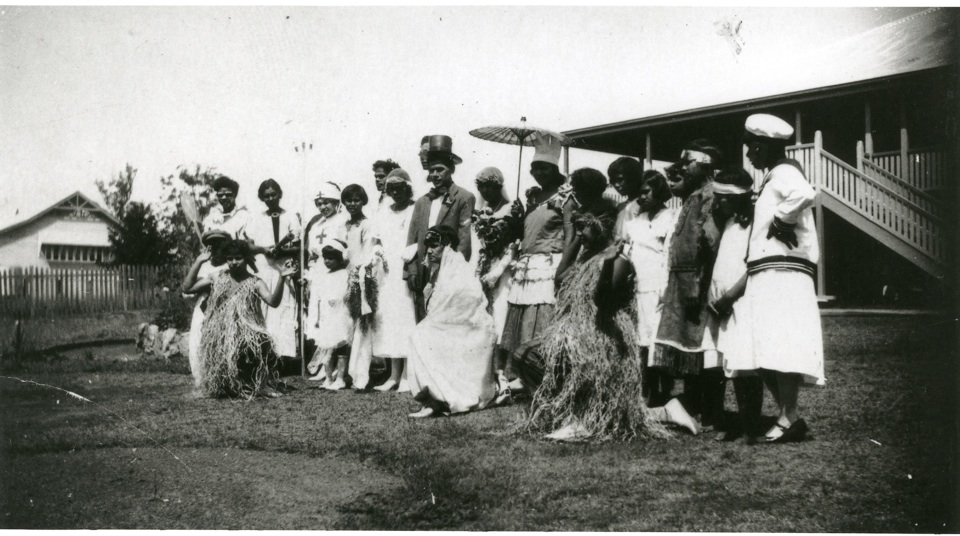 Group photograph for concert party at Cherbourg Aboriginal Settlement c1930