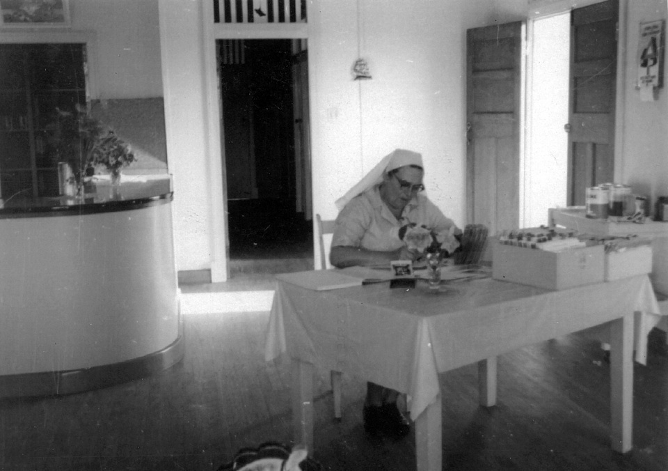 Matron Carew in the Maternal and Child Welfare Clinic at Cherbourg 1962