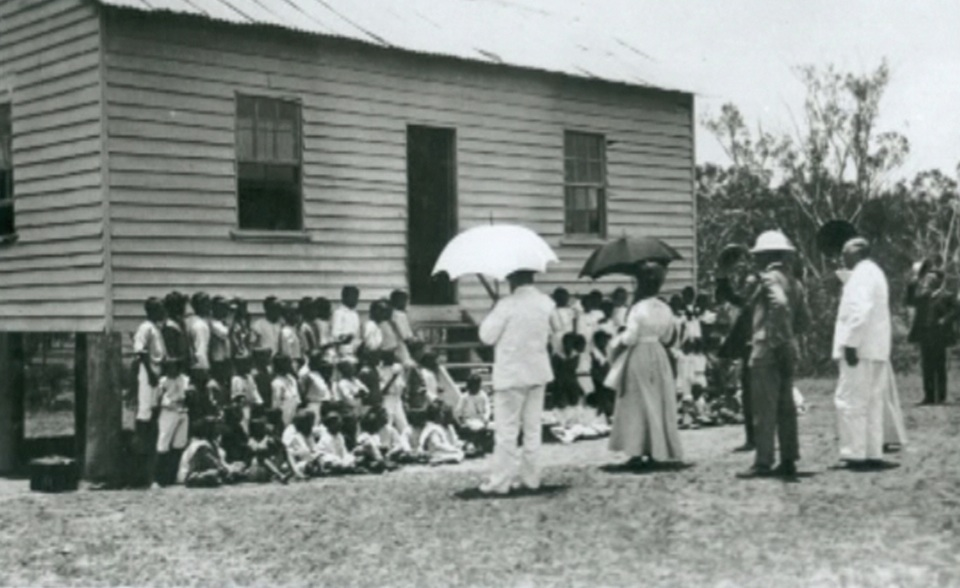 McGreggor inspecting school at Barambah Aboriginal Settlement 1911