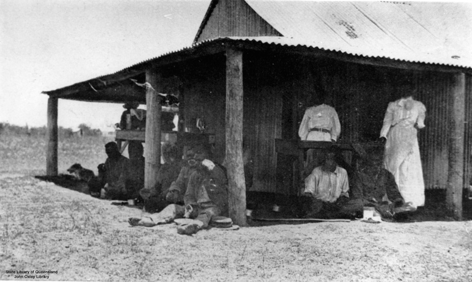 Men and Women outside Hospital at Barambah Aboriginal Settlement 1911