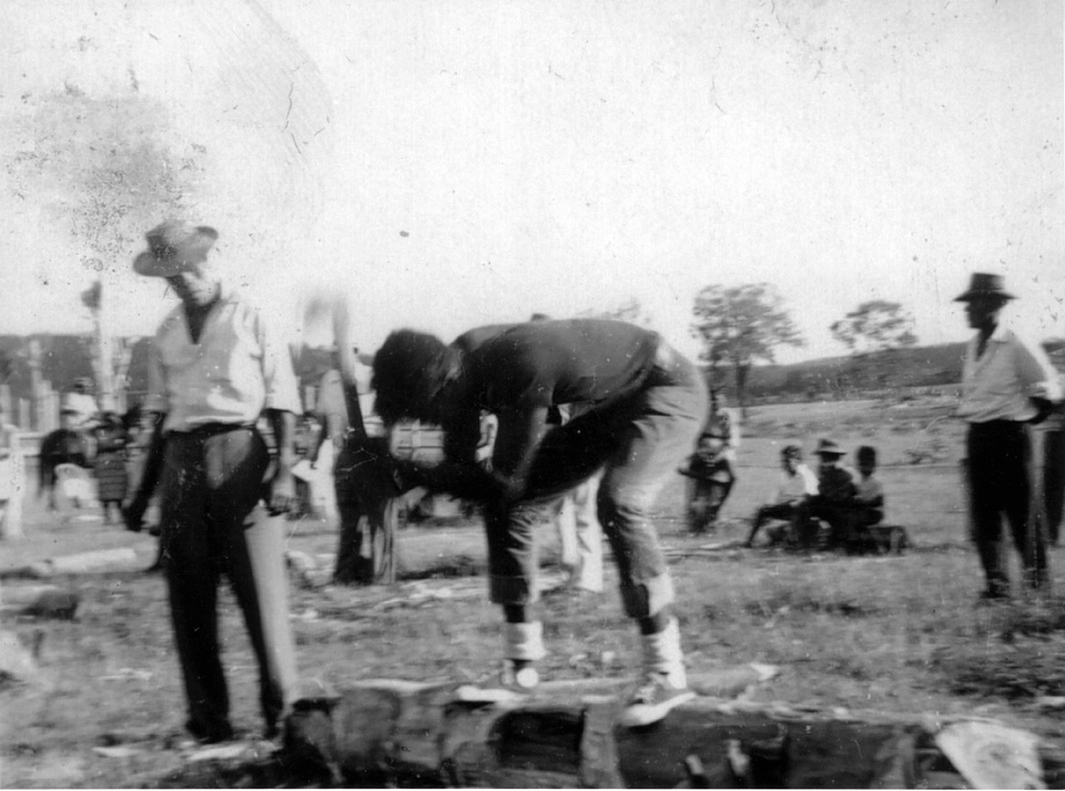 Mens woodchopping contest at Cherbourg c1953