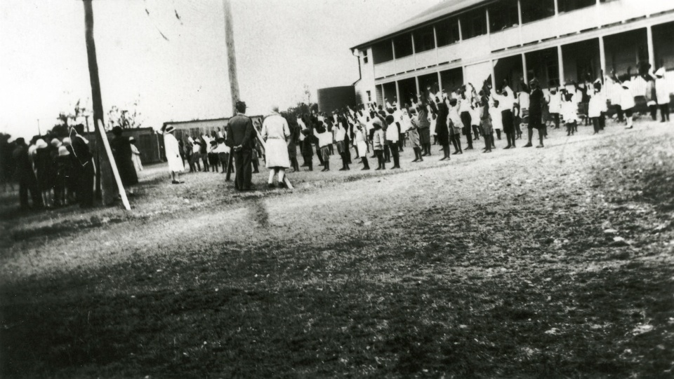 Morning inspection at the Girls Dormitory at Cherbourg Aboriginal settlement c1930