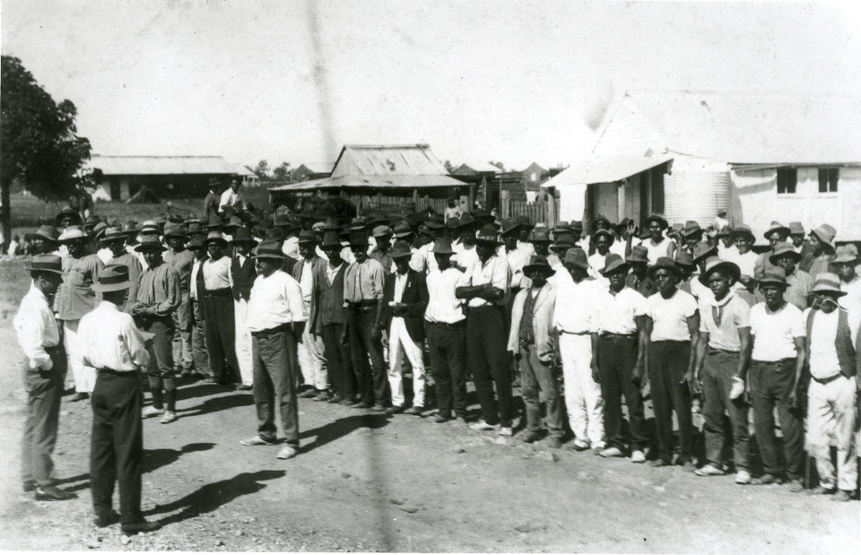 Morning parade at Barambah Aboriginal Settlement c1920