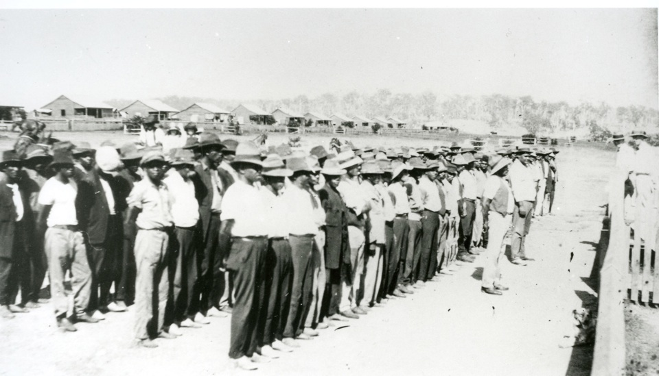 Morning parade at Cherbourg Aboriginal Settlement c1930