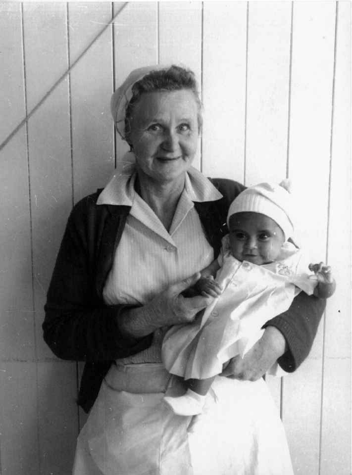 Nurse Hilda Secombe with Norman Cobbo at Cherbourg Hospital 1961