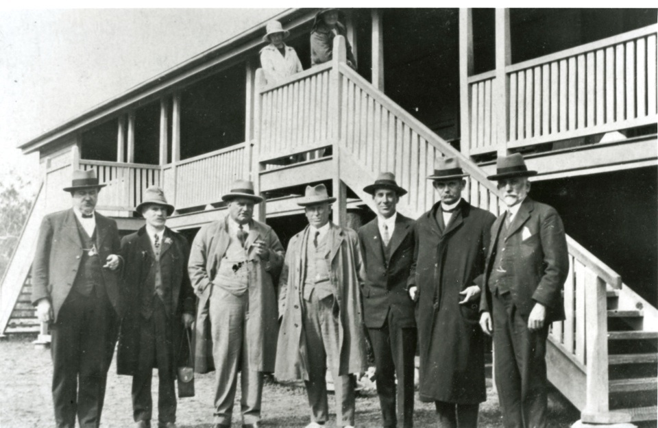 Government officials at the opening of the new school at Barambah Aboriginal Settlement 1924