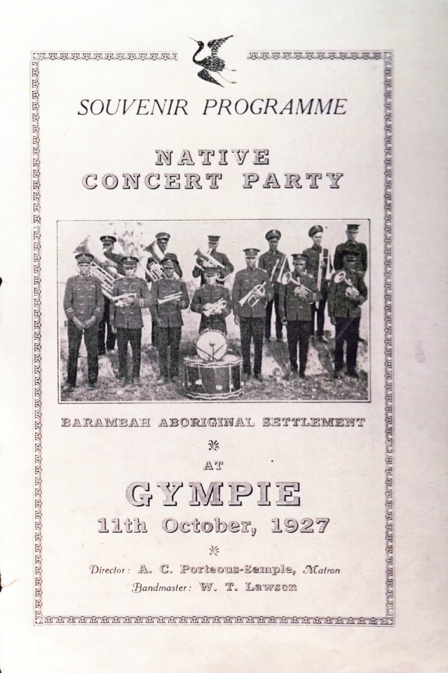 Souvenir Programme for Native Concert Party at Gympie October 11 1927