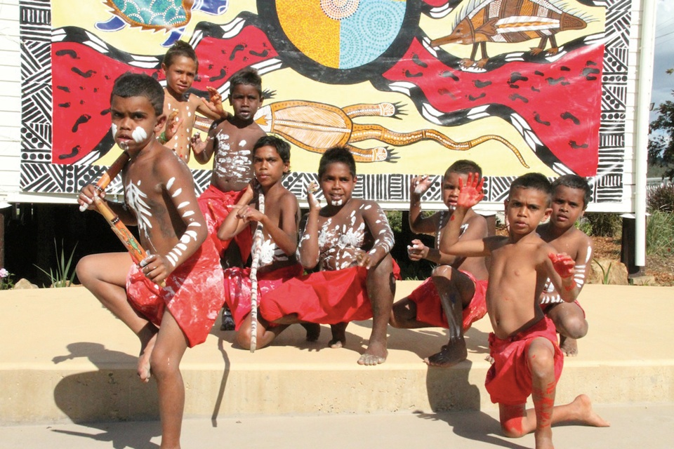 The Wakka Wakka Dance Troupe at the opening of the Cherbourg Historical Precinct 2009