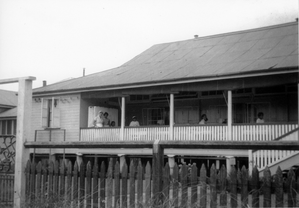 Waiting for visitors on the veranda at Cherbourg Hospital 1962