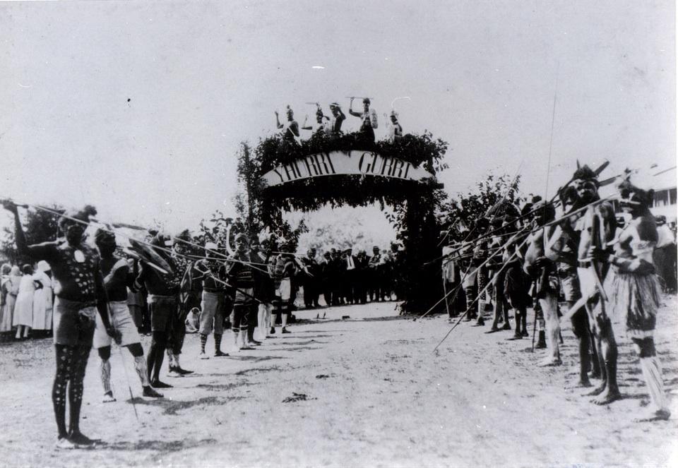 Yhurri Gurri ceremonial arch at Barambah Aboriginal Settlement May 3 1928